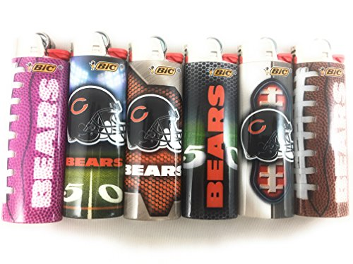 6pc Full Size SET Chicago Bears Nfl Football Bic Lighters Cigarette Jay Cutler
