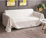 Rose Home Fashion Mehrzweck Sofabezug Sofaüberwurf aus Baumwolle 340 x 230cm, Couch Überzug, Bettüberwurf Tagesdecke Sofa Überzug für 4 Sitzer, L, Crème