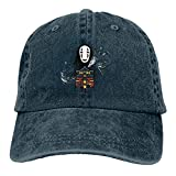 Funny Spirited Away No Face Hat Men's Adjustable Cross-Country Vintage Washed Denim Cap for Outdoor