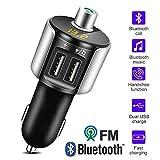ZXZXZX Bluetooth FM Transmitter, KFZ Auto Radio Adapter Auto Bluetooth Freisprecheinrichtung Bluetooth USB Auto-Ladegerät Car Bluetooth Car Kit mit 2 USB Ladegerät, Schwarzes Silber