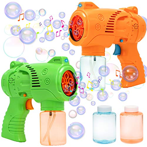 JOYIN 2 Bubble Guns with LED Lights and Music,Bubble Maker and Blower, Indoor and Outdoor Play, Kids Party Favor, Game Toys, Summer Themed Party and Birthday