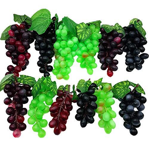Aisamco 12 Stück Verschiedene künstliche Trauben gefrostet Trauben Gummitrauben mit 4 Größen für Vintage gefallen Obst Wein Dekor Faux Obst Requisiten