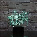 Lámpara de mesa 3D Toy para niños Gift-159 Rock Music Band Drum Set LED Acrílico Night Light con control remoto Illusion