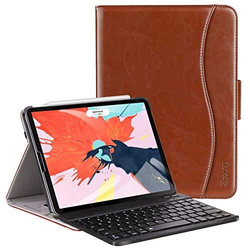 ZtotopCase Tastatur Hülle für iPad Pro 12.9 2018(3. Generation),Premium Leder Abnehmbare Bluetooth Tastatur Automatische Schlaf/Wach Schutzhülle für iPad Pro 12.9 Zoll 2018 Tablet(Braun)