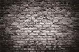 YEELE 10x8ft Vintage Black Brick Wall Backdrop Retro Dark Wall Interior Photography Background Birthday Wedding Decoration Kids Adults Artistic Portrait Photoshoot Props Vinyl Studio Wallpaper