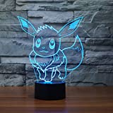 Pokemon Go Eevee 3D Night Light 7 Color Change LED Desk Lamp Touch Button Room Decor