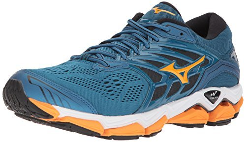 Mizuno Men's Wave Horizon 2 Running Shoes, Blue Sapphire/Bright Marigold/Black, 8 D US