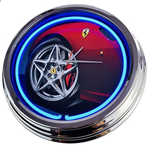 Neon Uhr Ferrari Wanduhr Deko-Uhr Leuchtuhr USA 50's Style Retro Neonuhr Esszimmer Küche Wohnzimmer Büro (Blau)