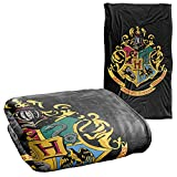 Harry Potter Hogwarts Crest Black Silky Touch Super Soft Throw Blanket 36' x 58',Hogwarts Crest