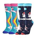 2 paires de chaussettes fantaisie en coton, motif licorne/ciel de nuit de Noël, chaussettes thermiques épaisses