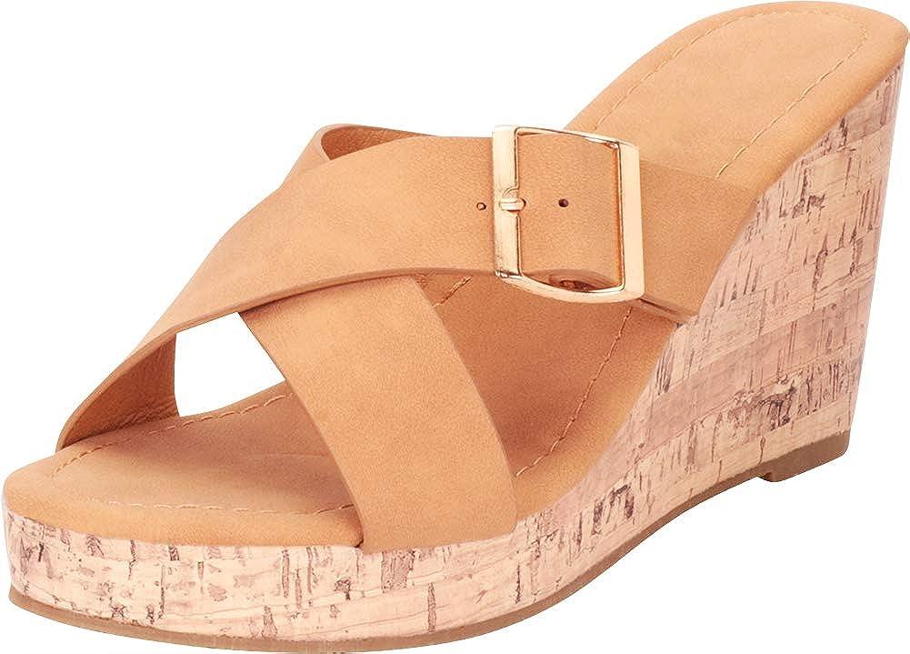 Cambridge Select Women's Open Toe Crisscross Slip-On Chunky Platform Wedge Sandal