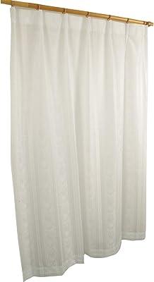 アーリエ(Arie) 日本製 国産 レースカーテン 1枚入り 透けない リーフ柄 UVカット 見えにくい 花粉キャッチ 鉄フック ルーペ ホワイト 幅200cm×丈213cm