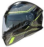 Vega Helmets 45030-204 Unisex-Adult Modular Motorcycle & Snowmobile Helmet 30% Larger Shield and Sunshield (Caldera Hi-Vis Green Graphic, Large)