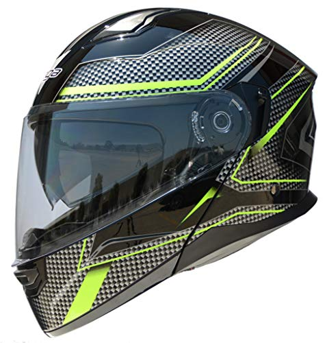 Vega Helmets Unisex-Adult Modular Motorcycle & Snowmobile Helmet 30% Larger Shield and Sunshield (Caldera Hi-Vis Green Graphic, X-Large)