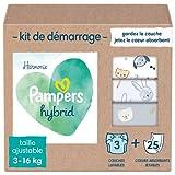 Pampers Harmonie - Pañal lavable híbrida con 1 capa + 25 velos de protección desechables, protege la piel sensible de los bebés, ingredientes de origen vegetal y sin perfume, motivos de animales