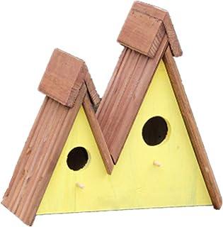 Nichoirs Rétro Arts Et Artisanat Chalets en Plein Air Bird House Triangle Décoration Extérieure Bird House en Bois en Bois...