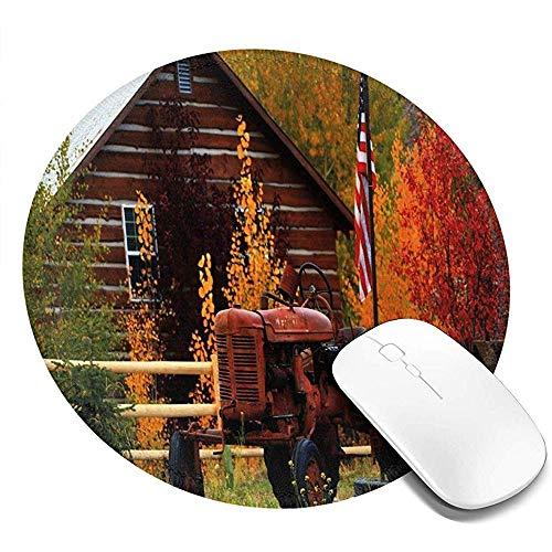 Ronde muismat, rustieke cabine met roestige trekker landhuis seizoensgebonden kleuren Amerikaanse vlag loyaliteit, anti-slip gaming muis mat