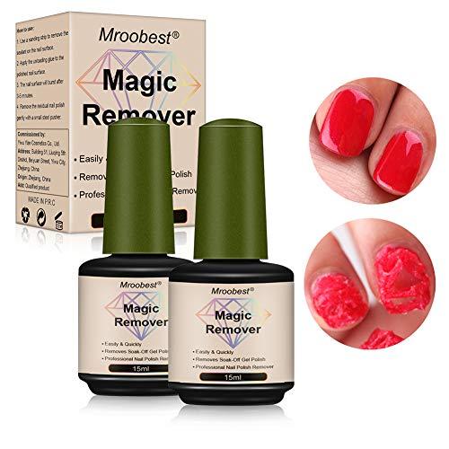 Nail Remover, Magic Gel, Magic Gel Remover, Quitaesmalte de uñas en gel profesional que elimina el aceite de gel infiltrante fácil y rápidamente, No daña la uña -15 ml (2pcs)