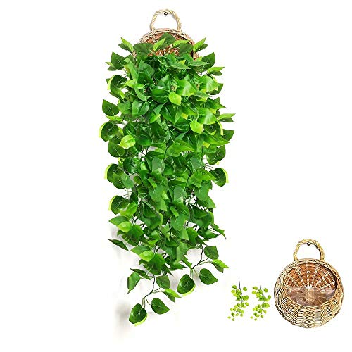 AceList Artificial Hanging Plants with Basket Fake Ivy Leaves for Home Wall Wedding Party Decor-Ivy