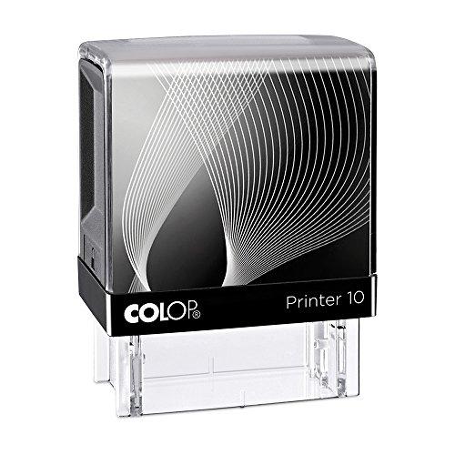 Stempel Colop Printer 10 custom (27x10 mm - 3 Zeilen) mit individueller Textplatte Größe Schwarz, Farbe Schwarz
