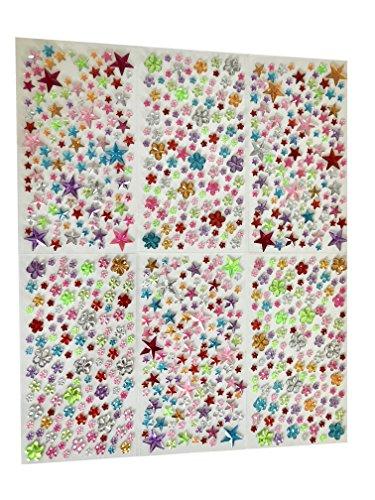 Rhinestone Paradise Schmucksteine selbstklebend Sterne Blumen Glitzer-Steine Glitzer-Sticker Brillanten Strass-Steine bunt Bastelset Strass-Sticker Acryl-Sticker
