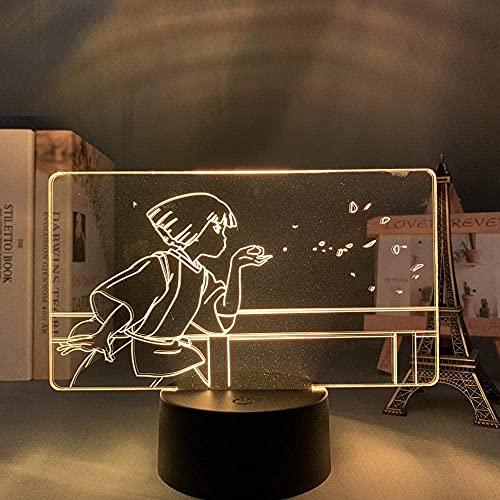 3D Illusion Light Night Light Anime Figura Figura Fantasma Alejado Luz LED para Dormitorio Niño Decoración Regalo de Cumpleaños Escritorio Acrílico Spirited-A-Tocar