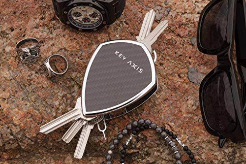 Key Axis Compact Organizer Keychain Smart Holder Clip Ring Carbon Fiber & Stainless Steel Pocket Keys Chain Rack Lightweight Durable Carabiner Bar Bottle Opener Tools Multi Tools