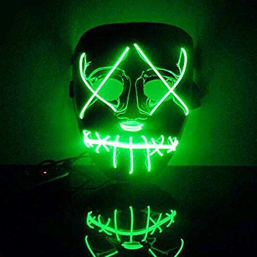 Mascara Halloween LED, Zolimx Adultos el Led Mask de Accesorio para Halloween Cosplay Cartoon Payaso Máscara de Terror para Party Night Club (Verde)