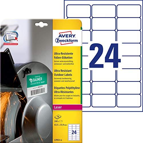 AVERY Zweckform L7912-10 Strapazierfähige Folienetiketten (63,5x33,9 mm auf DIN A4, extrem stark selbstklebend, wasserfest, bedruckbare Outdoor Klebefolie) 240 Aufkleber auf 10 Blatt weiß