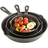 VonShef Pre-Seasoned Cast Iron Skillet Frying Pan, Non Stick, Black,...