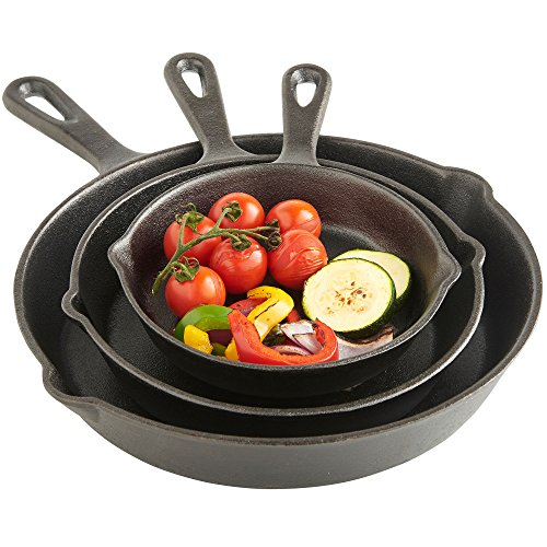 VonShef Cast Iron Skillet Pan Set 3 Piece - Pre-Seasoned, Oven Safe - 6', 8', 10' - Suitable for All Hobs Including Induction