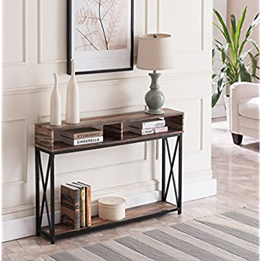 Reclaimed Weathered Oak Finish Top / Black Metal X-Design Frame 2-tier Sofa Console Table with Two Storage Compartments
