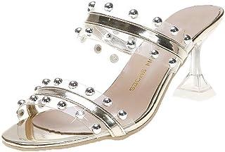 Slipper Women Summer Sandals Fashion Transparent rivet High Heels Thin Heel Women's Shoes