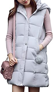 Women's Casual Hooded Coat Zipper Up Thickened Warm Sleeveless Slim Fit Long Down Vest Jacket with Pockets