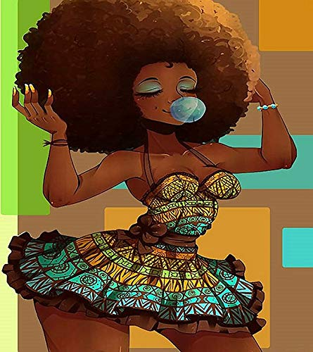 DIY 5D Full Drill American Native Sexy African Woman Cartoon Portrait Square Diamond Painting by Number Kits for Adults Crystal Rhinestone Cross Stitch for Wall Decoration Gift 30x40CM/12x16IN
