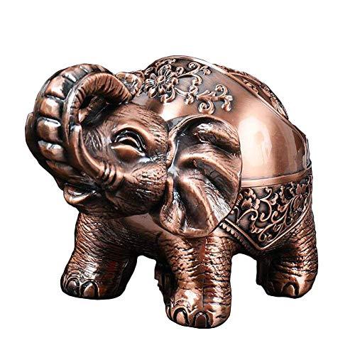 VOANZO Metall Aschenbecher Elefant Mit Deckeldichtung Kreative Dekorative Aschenbecher Männer Geschenke Retro Handwerk Ornamente (rotes Kupfer)