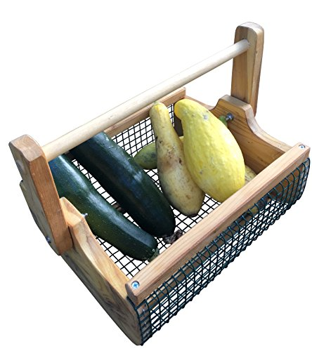 Fairfield Garden Products Large Harvest Fruit Basket   Rust Proof Wire Mesh With Folding Handle   Cedar Garden Hod To Carry & Rinse Fresh Vegetables, As Picnic Basket, Magazine Or Towel Holder