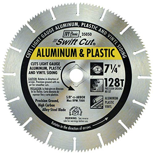 IVY Classic 35050 Swift Cut 7-1/4'128 Tooth Aluminum & Plastic Cutting Circular Saw Blade with 5/8' Diamond Knockout Arbor, 1/Card