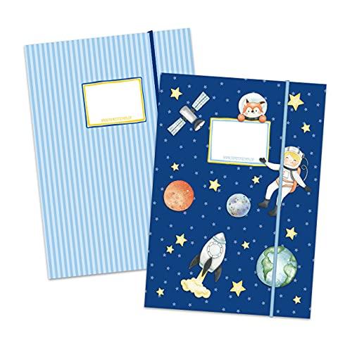 2 carpetas escolares de alta calidad para niños DIN A4   motivo astronauta - carpeta de correo para alumnos de primaria - coleccionista de cuadernos - grapadora de silla - set número 5