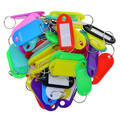 LOVIVER 50x Colorful Key Tags Plastic Name Label ID Keys Tag Luggage Fob Rings