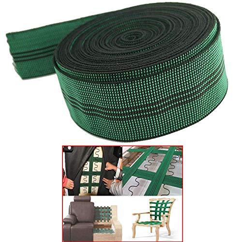 Pmsanzay Cinta elástica elástica de látex 10% elástica, para tapicería, cinta elástica de 5 cm de ancho x 20 pies, para sofá, silla, reparación de muebles, bricolaje o reemplazo