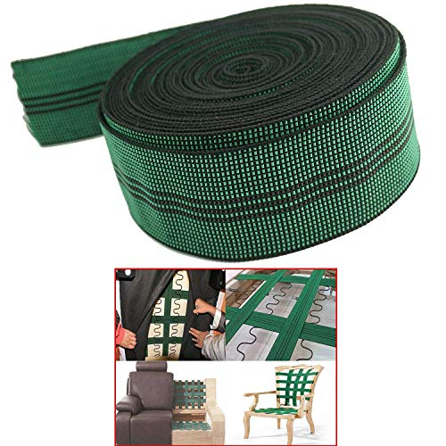 Pmsanzay Elastic 10% Stretch Latex Webbing Upholstery Elasticated Band Strap Belt Elastic Spool 2' inches Wide x 20' feet, for Sofa/Couch/Chair Furniture Repair DIY or Replacement