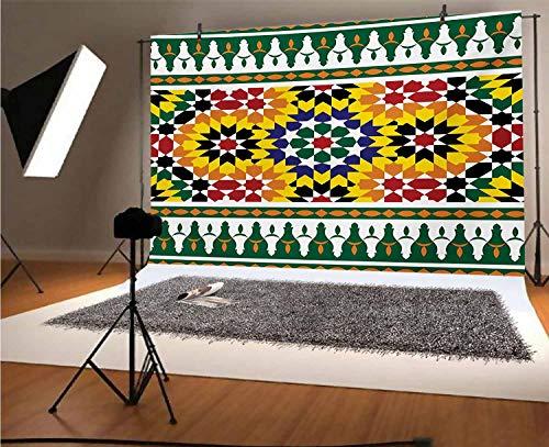 Fondo de vinilo marroquí, 20 x 10 pies, vibrante patrón tribal indie de la vieja moda con influencias impresión de fondo para selfie, fiesta de cumpleaños, fotos de cabina de fotos