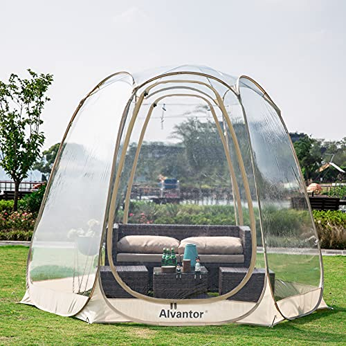 of all year round gazebos dec 2021 theres one clear winner Alvantor Bubble Tent Screen House Room Camping Tent Canopy Gazebos 4-6 Person for Patios, Large Oversize Weather Pod, Premium Greenhouse Instant Pop Up Tent, Cold Protection Beige 10'×10'