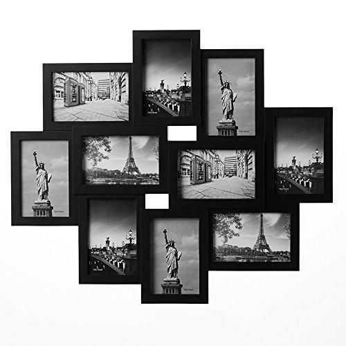 Deuba Bilderrahmen Collage Schwarz Für 10 Fotos 10x15 cm Hoch-oder Querformat, Bildergalerie Fotogalerie 59 x 50 cm