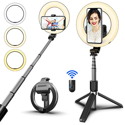 "SYOSIN Selfie Ring Light with Tripod Stand and Phone Holder, 6.3"" Rechargeable LED Dimmable Ring Light Selfie Stick Tripod with Bluetooth Remote Control for Live Stream,Makeup,YouTube Video"