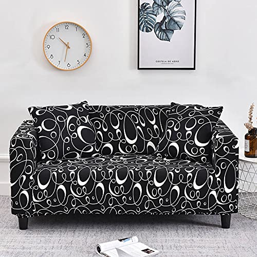 PPOS Geometric Sofa Covers for Living Room Stretch Non-Slip Couch Cover Sofa Slipcover Chair Protector Anti-Dust D4 Loveseat 145-185cm-1pc
