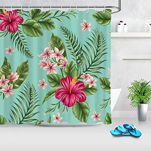 ECOTOB Hawaiian Tropical Leaf Flowers Shower Curtain for Bathroom, Exotic Plant Leaves and Floral on...