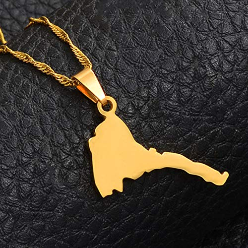 Map Necklace For Women,Eritrea Karte Kleine Anhänger Halsketten Für Männer Frauen Gold Farbe Charme Karten Patriotischer Schmuck Ethnische Zubehör Weihnachten Geschenke-45-Cm (18 Zoll)-Thin_Kette