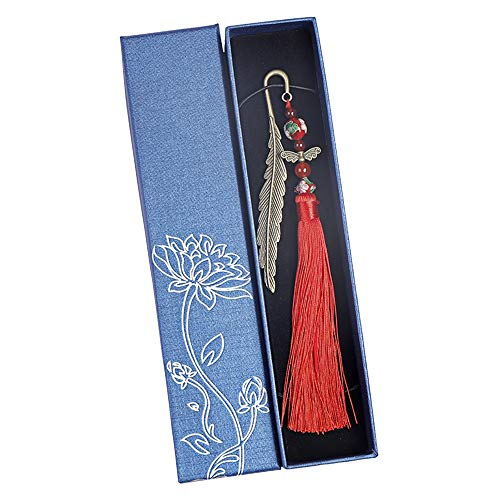 Ceqiny Metal Bookmark Pendant Bookmark Creative Book Clip Tassel Beads Bookmark Feather Bookmark with Butterfly and Glass Beads Vintage Book Page Marker for Reading Adults Kids Students Gifts